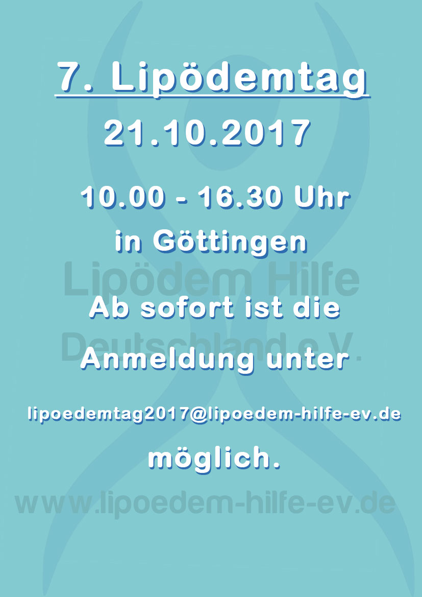 Vorankündigung 7. Lipödemtag am 21.10.2017 in Göttingen