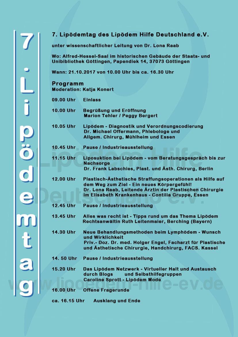 Das programm für den 7. Lipödemtag in Göttingen am 21.10.2017